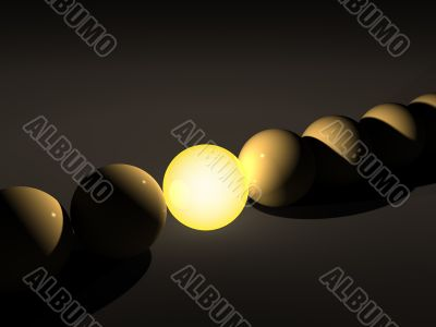 3d sphere, brightly luminous in darkness
