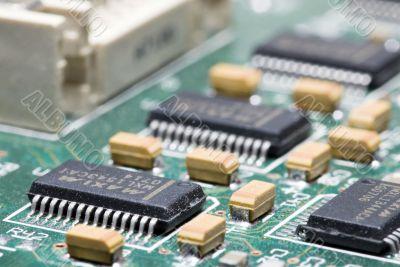microchip on a scheme background