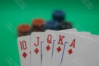 Poker Hand - Diamonds Straight Flush