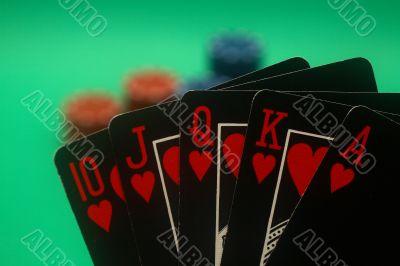 Poker Hand - Hearts Straight Flush