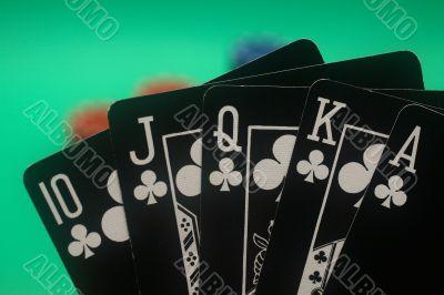 Poker Hand - Clubs Straight Flush