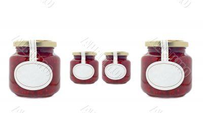 Strawberry jam jars