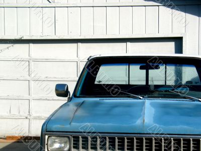 Blue Parked Pickup Truck
