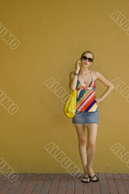 Standing Stylish Cellphone Girl