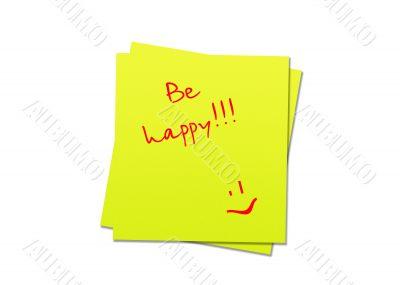sticky note be happy