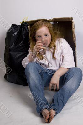homeless thirsty girl