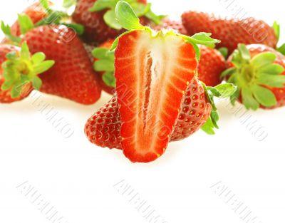 one cut fresh ripe strawberry