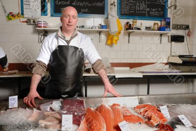 fishmonger in apron