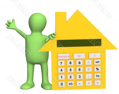 3d puppet with calculator in form of house