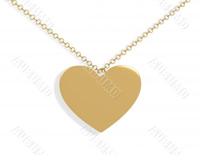 3d gold ornament in the form of heart