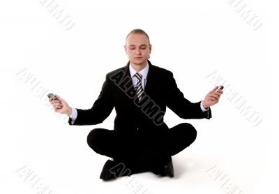 Business yoga with mobile phones