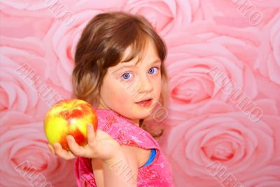 The child`s great apple.