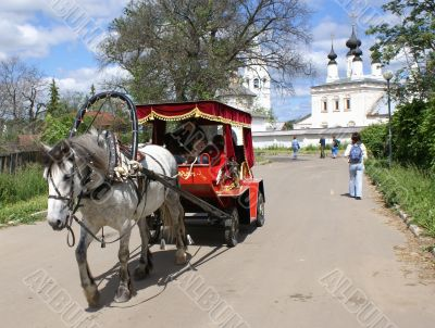 Old style town - horse car