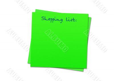 Sticky note shopping list