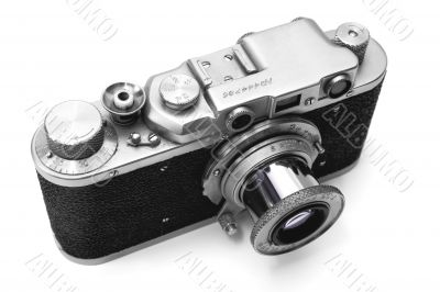 Vintage rangefinder camera over white with clipping path - 2