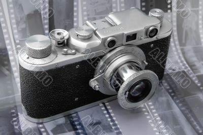 Vintage rangefinder camera over black and white film