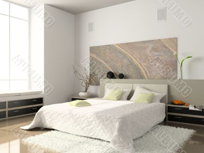 Interior of the comfortable bedroom 3D rendering