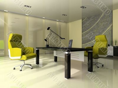 Interior of the modern office with two green armchairs