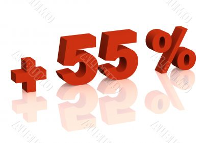 Red 3d inscription - plus of fifty five percent