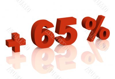 Red 3d inscription - plus of sixty five percent