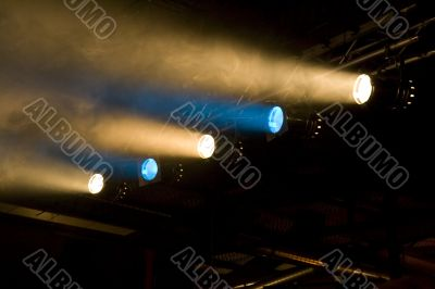 Yellow and blue footlights
