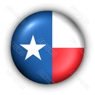 Round Button USA State Flag of Texas