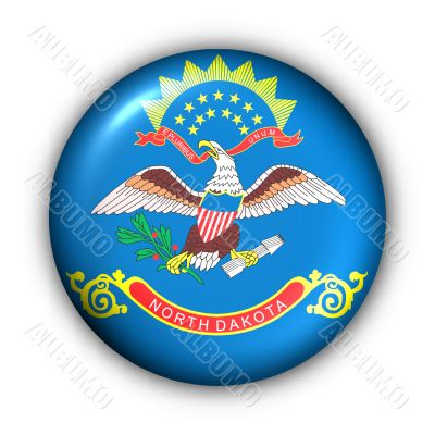 Round Button USA State Flag of North Dakota