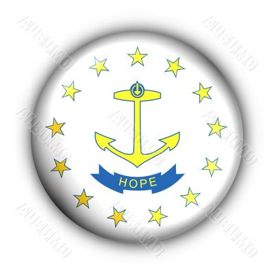 Round Button USA State Flag of Rhode Island