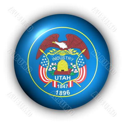 Round Button USA State Flag of Utah