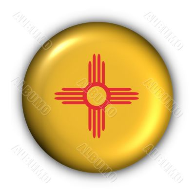 Round Button USA State Flag of New Mexico