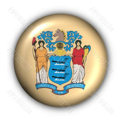 Round Button USA State Flag of New Jersey