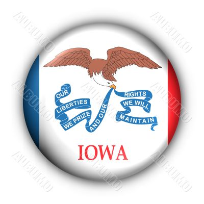 Round Button USA State Flag of Iowa