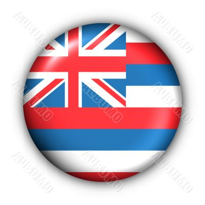 Round Button USA State Flag of Hawaii