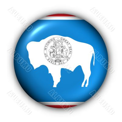 Round Button USA State Flag of Wyoming