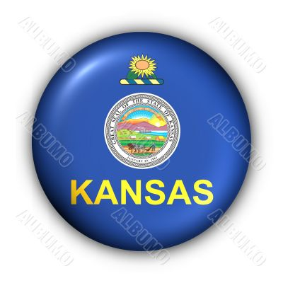 Round Button USA State Flag of Kansas