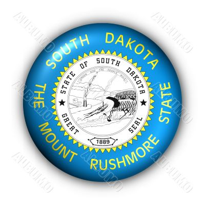 Round Button USA State Flag of South Dakota