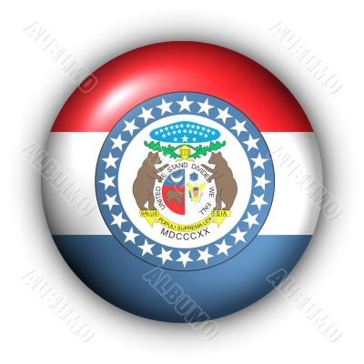 Round Button USA State Flag of Missouri