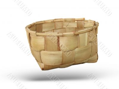 The wooden basket made manually
