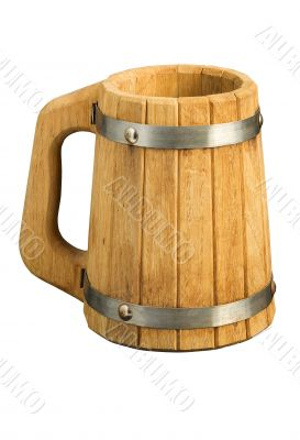 Wooden beer mug (isolated on white)
