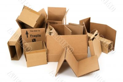 Pile of used cardboard boxes