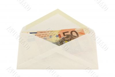 Envelope with 50 euro notes
