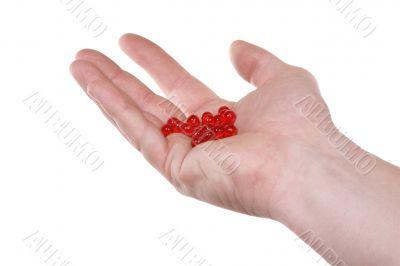 Hand,red pills