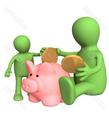 Adult and child lowering coin in piggy bank