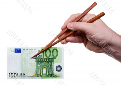 Chopsticks with banknote 1