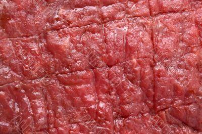 raw red beef steak