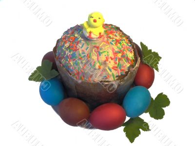 Easter  cake and multi-coloured eggs