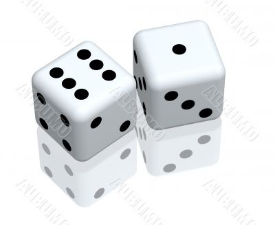 Two playing 3d bones of white color