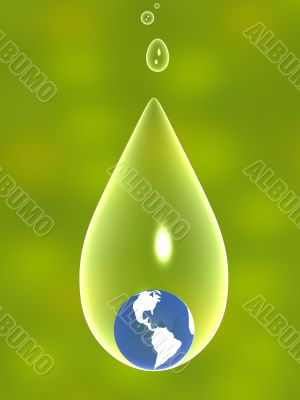 3d Earth in a transparent drop of water