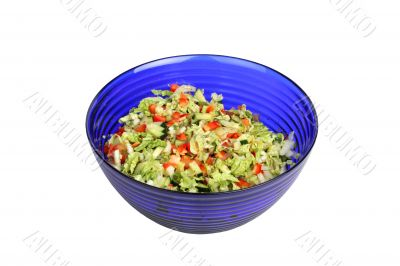 Vegetable Salad in blue salad bowl on white