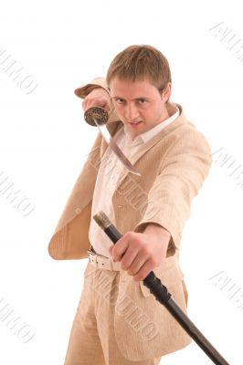 Businessman with katana protect himself